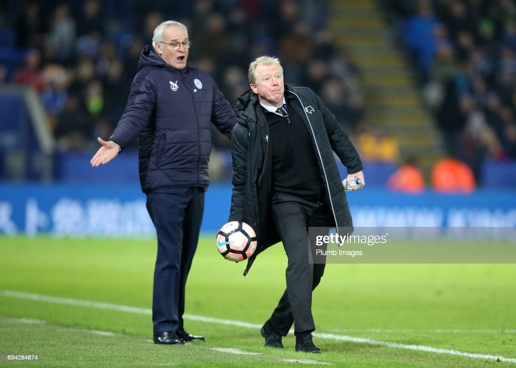 Manager Claudio Ranieri of Leicester City with Steve McClaren of Derby County during the Emirates FA Cup Fourth Round Replay match between Leicester City and Derby County at King Power Stadium on February 08 , 2017 in Leicester, United Kingdom.