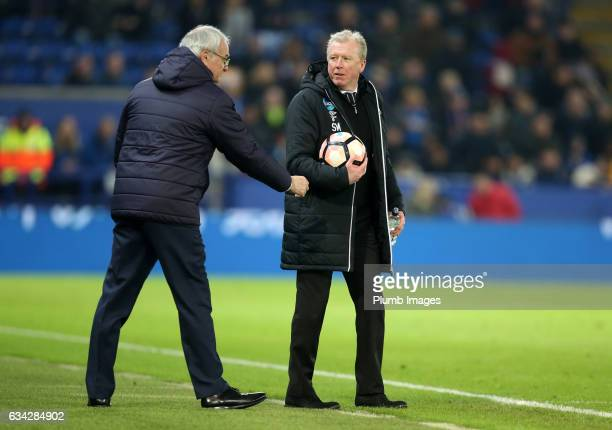 Manager Claudio Ranieri of Leicester City with Steve McClaren of Derby County during the Emirates FA Cup Fourth Round Replay match between Leicester...