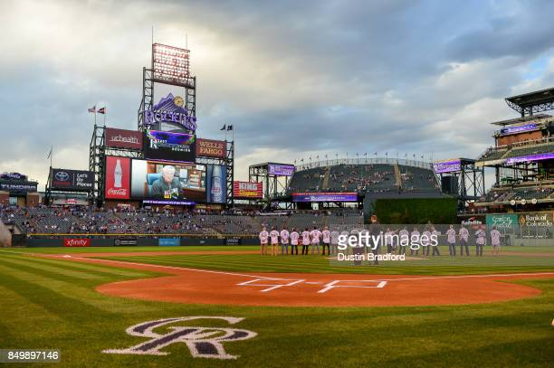 Manager Clint Hurdle of the Pittsburgh Pirates and former manager of the Colorado Rockies delivers a message via the jumbotron to a group of the...