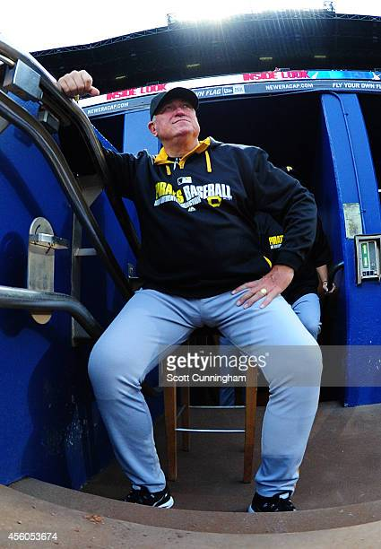 Manager Clint Hurdle of the Pittsburgh Pirates gets ready for the game against the Atlanta Braves at Turner Field on September 24 2014 in Atlanta...
