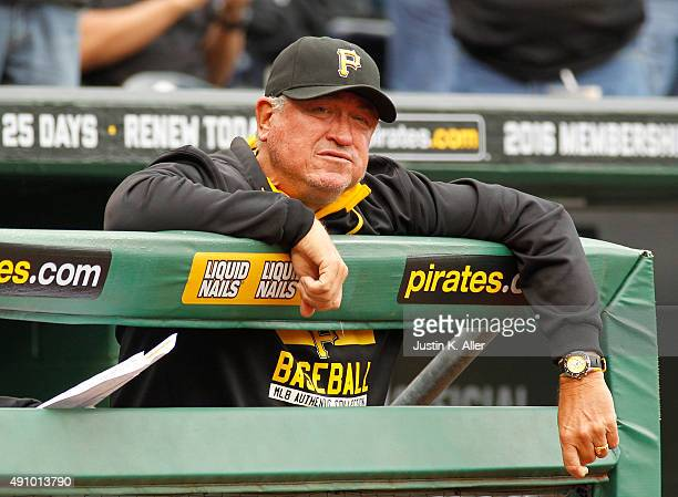 Manager Clint Hurdle of the Pittsburgh Pirates in action during game one of the doubleheader against the St Louis Cardinals at PNC Park on September...