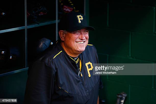 Manager Clint Hurdle of the Pittsburgh Pirates stands in the dugout prior to the game against the St Louis Cardinals at PNC Park on May 9 2015 in...