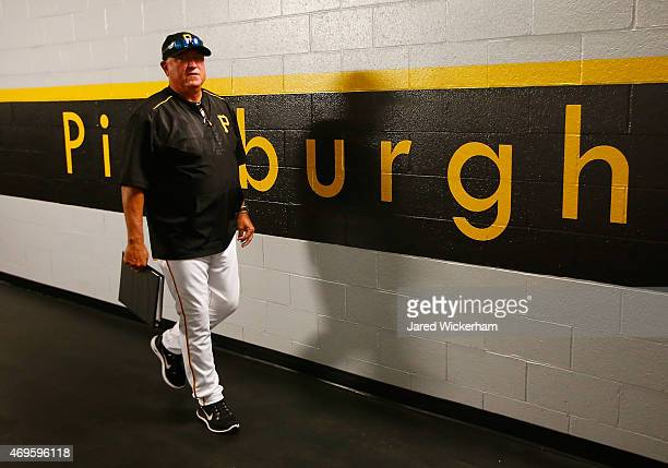Manager Clint Hurdle of the Pittsburgh Pirates walks through the hallway before entering the field against the Detroit Tigers during the Opening Day...
