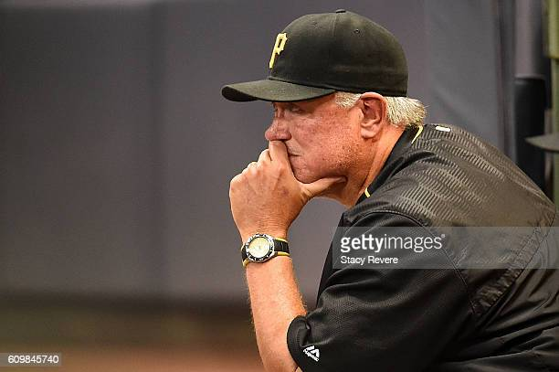 Manager Clint Hurdle of the Pittsburgh Pirates watches action during the seventh inning of a game against the Milwaukee Brewers at Miller Park on...