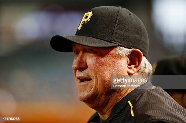 Manager Clint Hurdle of the Pittsburgh Pirates watches from the dugout during the MLB game against the Arizona Diamondbacks at Chase Field on April...