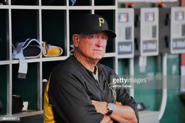 Manager Clint Hurdle of the Pittsburgh Pirates watches his team play against the Cincinnati Reds at Great American Ball Park on May 23 2018 in...
