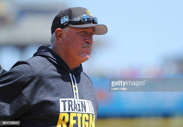 Manager Clint Hurdle of the Pittsburgh Pirates watches the action during the Spring Training Game against the Baltimore Orioles on March 15 2017 at...