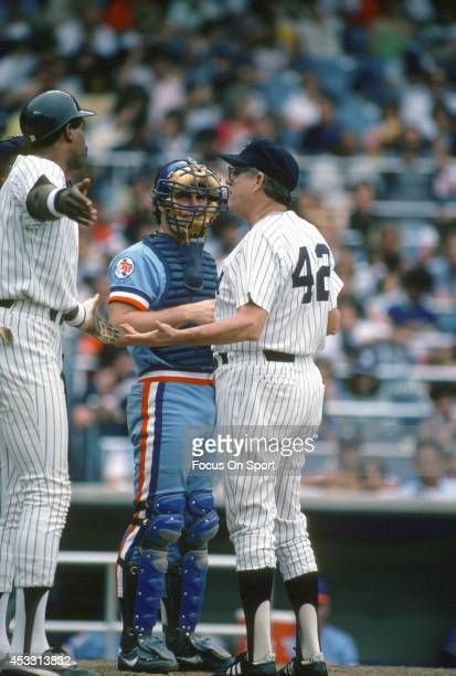 Manager Clyde King of the New York Yankees argues with an umpire during a Major League Baseball game against the Texas Rangers circa 1982 at Yankee...