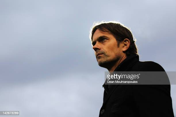Manager / Coach, Phillip Cocu looks on during the Eredivisie match between RKC Waalwijk and PSV Eindhoven at the Mandemakers Stadion on April 11,...