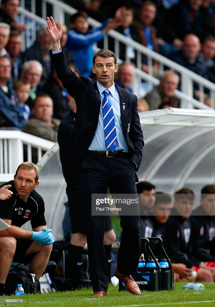Manager Colin Cooper of Hartlepool gestures during the Sky Bet League Two match between Hartlepool United and Accrington Stanley at Victoria Park on September 14, 2013 in Hartlepool, England.