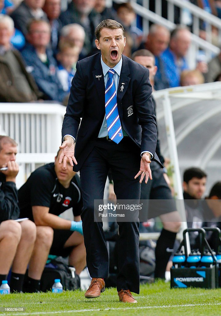 Manager Colin Cooper of Hartlepool shouts instructions during the Sky Bet League Two match between Hartlepool United and Accrington Stanley at Victoria Park on September 14, 2013 in Hartlepool, England.