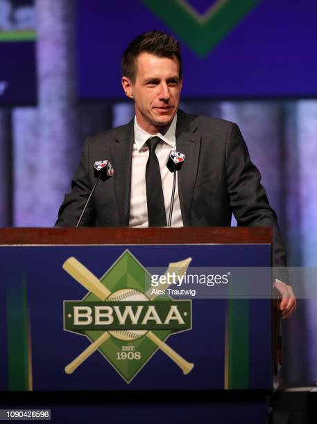 Manager Craig Counsell introduces National League MVP Christian Yelich of the Milwaukee Brewers speaks during the 2019 Baseball Writers' Association...