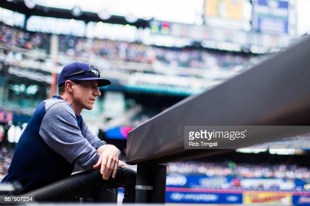Manager Craig Counsell of the Milwaukee Brewers looks on during the game against the New York Mets at Citi Field on Thursday June 1 2017 in the...