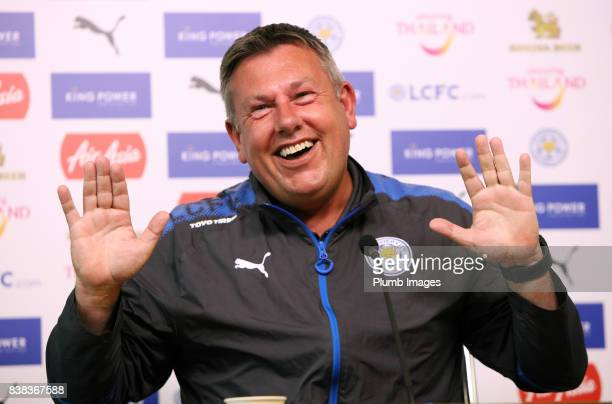 Manager Craig Shakespeare during a Leicester City press conference at Belvoir Drive Training Complex on August 24 , 2017 in Leicester, United Kingdom.