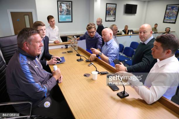 September 08: Manager Craig Shakespeare during the Leicester City press conference at King Power Stadium on September 08 , 2017 in Leicester, United...