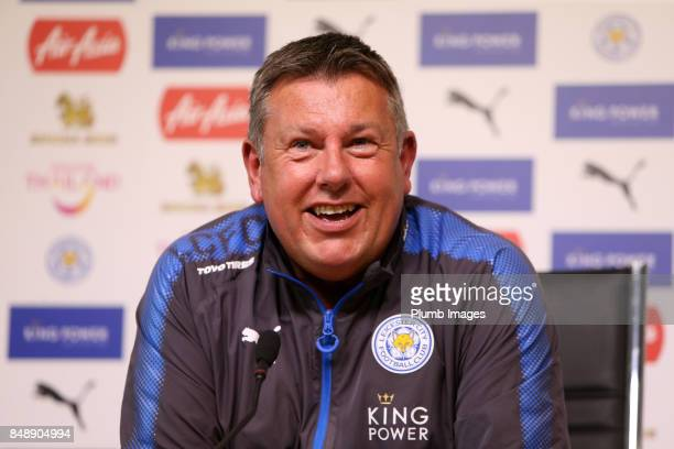 Manager Craig Shakespeare during the Leicester City press conference at Belvoir Drive Training Complex on September 18 , 2017 in Leicester, United...
