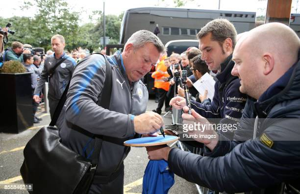 Manager Craig Shakespeare of Leicester City arrives at Vitality Stadium ahead of the Premier League match between Bournemouth and Leicester City at...