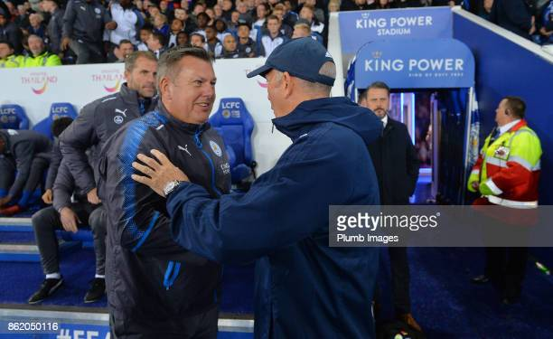 Manager Craig Shakespeare of Leicester City welcomes manager Tony Pulis of West Bromwich Albion to King Power Stadium ahead of the Premier League...