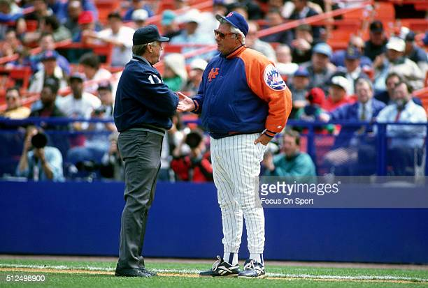 Manager Dallas Green of the New York Mets argues with an umpire during an Major League Baseball game circa 1994 at Shea Stadium in the Queens borough...