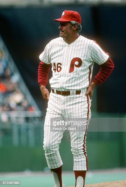 Manager Dallas Green of the Philadelphia Phillies walks off the mound after making a pitching change during an Major League Baseball game circa 1980...