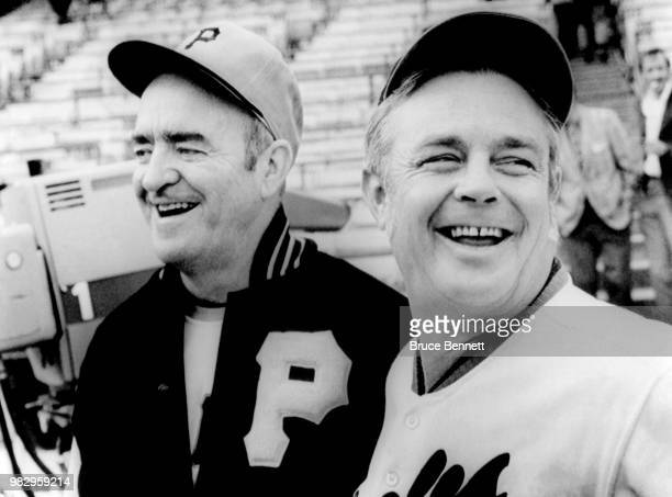 Manager Danny Murtaugh of the Pittsburgh Pirates poses with manager Earl Weaver of the Baltimore Orioles prior to Game 1 of the 1971 World Series on...