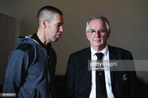 Manager Darren Shand speaks with NZRU chairman Brent Impey during the New Zealand All Blacks squad announcement on June 1 2014 in Auckland New...