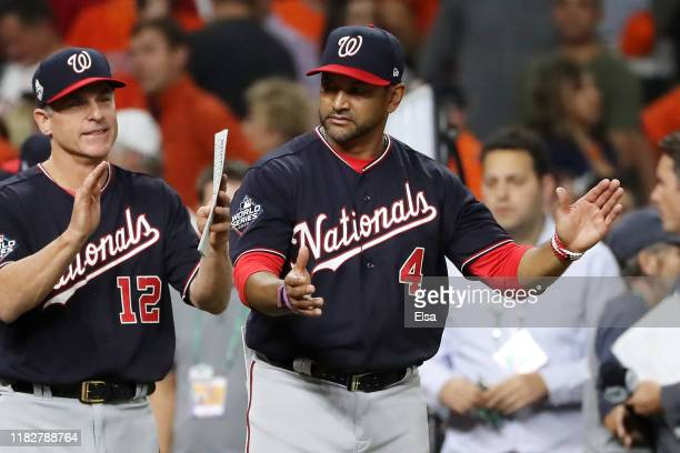 Manager Dave Martinez of the Washington Nationals celebrates his teams 54 win over the Houston Astros in Game One of the 2019 World Series at Minute...