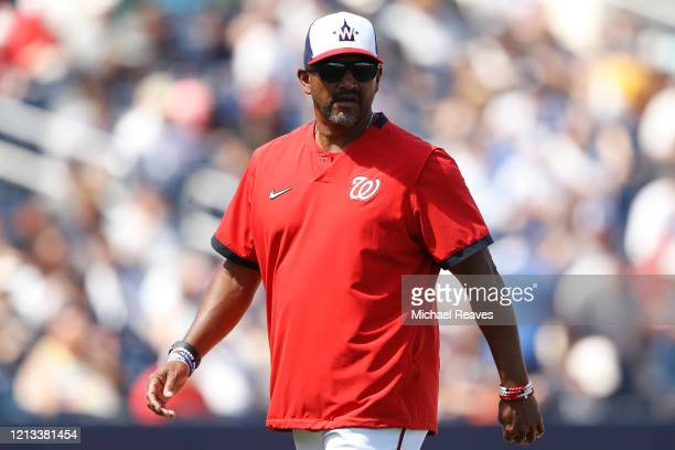 Manager Dave Martinez of the Washington Nationals looks on against the New York Yankees during a Grapefruit League spring training game at FITTEAM...