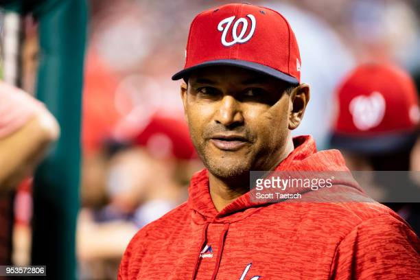 Manager Dave Martinez of the Washington Nationals looks on during the fifth inning against the Pittsburgh Pirates at Nationals Park on May 1 2018 in...