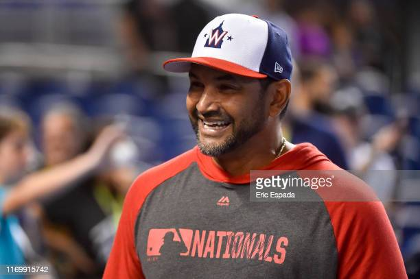 Manager Dave Martinez of the Washington Nationals smiles during batting practice before the game against the Miami Marlins at Marlins Park on...