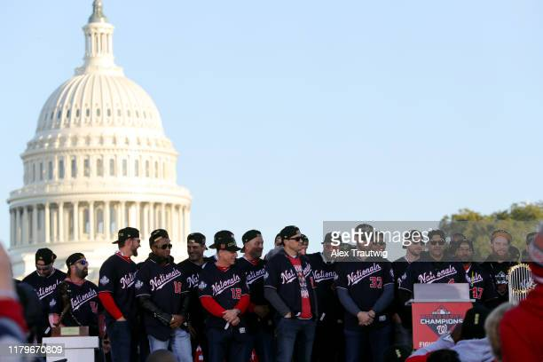 Manager Dave Martinez of the Washington Nationals speaks during the 2019 World Series victory parade on Saturday November 2 2019 in Washington DC
