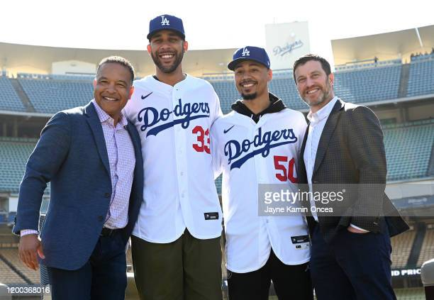 Manager Dave Roberts newly acquired Los Angeles Dodgers David Price and Mookie Betts and general manager Andrew Friedman pose for a photo during the...