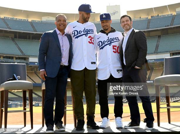 Manager Dave Roberts newly acquired Los Angeles Dodgers David Price fand Mookie Betts and general manager Andrew Friedman pose for a photo during the...