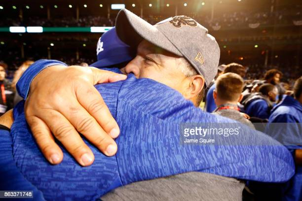 Manager Dave Roberts of the Los Angeles Dodgers celebrates after beating the Chicago Cubs 111 in game five of the National League Championship Series...