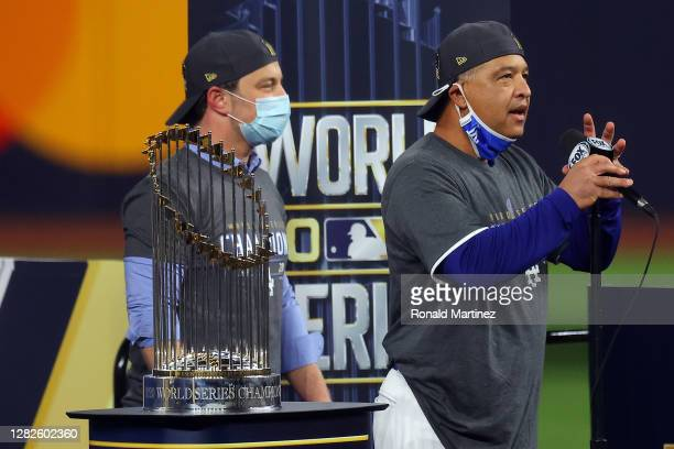 Manager Dave Roberts of the Los Angeles Dodgers is interviewed after defeating the Tampa Bay Rays 3-1 in Game Six to win the 2020 MLB World Series at...