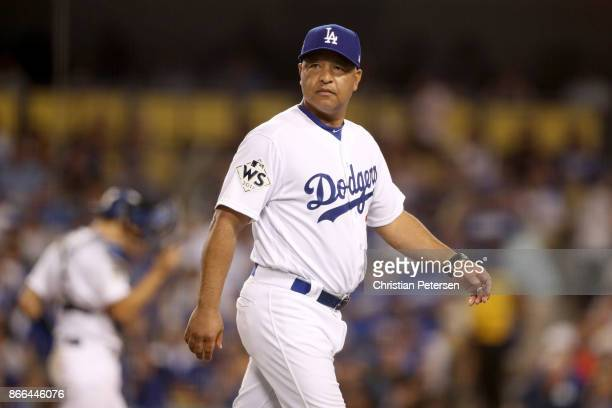 Manager Dave Roberts of the Los Angeles Dodgers makes a pitching change during the sixth inning against the Houston Astros in game two of the 2017...