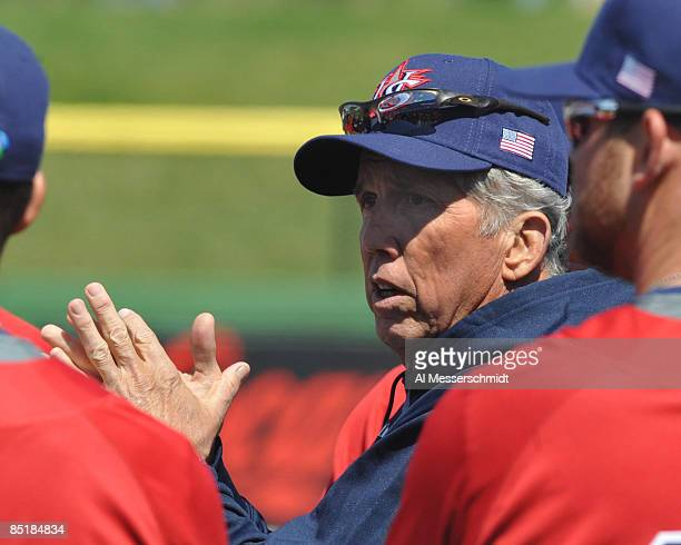 Manager Davey Johnson of the USA World Baseball Classic team directs a practice March 2, 2009 at Bright House Field in Clearwater, Florida.