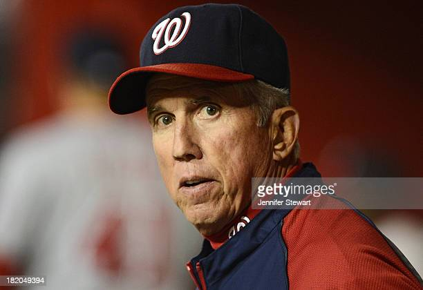 Manager Davey Johnson of the Washington Nationals looks on from the dugout prior to the game against the Arizona Diamondbacks at Chase Field on...