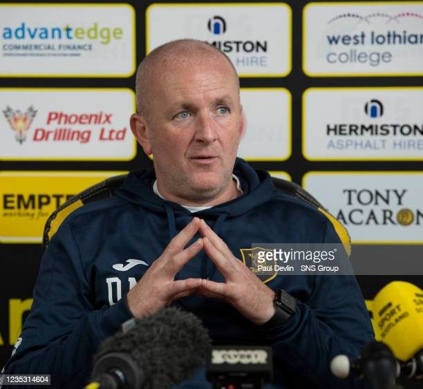 Manager David Martindale during a Livingston press conference at the Tony Macaroni Arena on, September 17 in Livingston, Scotland.
