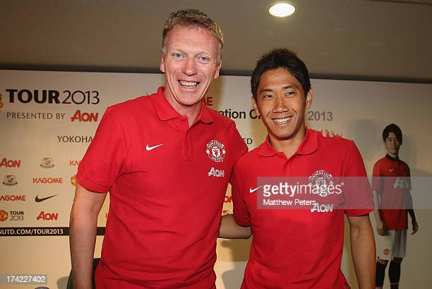 Manager David Moyes and Shinji Kagawa of Manchester United pose after a press conference as part of their preseason tour of Bangkok Australia China...