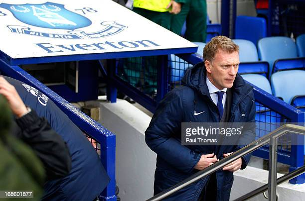 Manager David Moyes of Everton walks out of the tunnel before the Barclays Premier League match between Everton and West Ham United at Goodison Park...