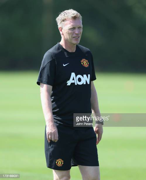 Manager David Moyes of Manchester United in action during a first team training session at the Aon Training Complex on July 9 2013 in Manchester...