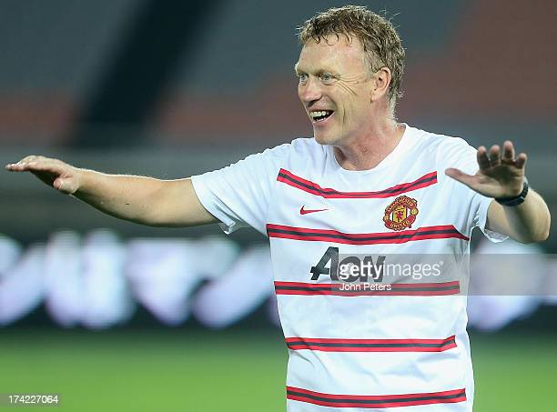 Manager David Moyes of Manchester United in action during a first team training session as part of their preseason tour of Bangkok Australia China...