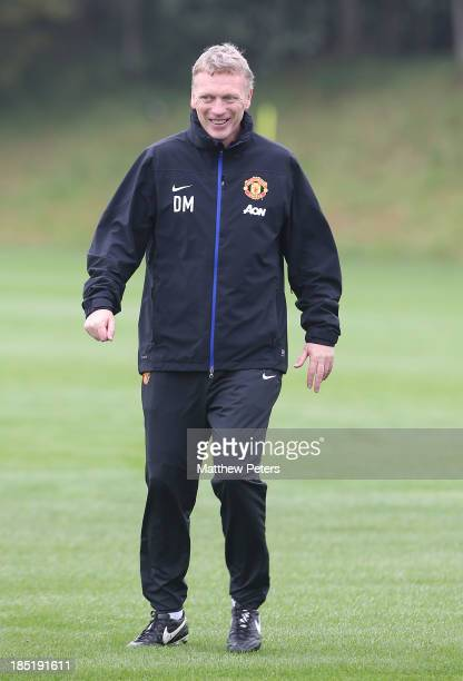 Manager David Moyes of Manchester United in action during a first team training session at Aon Training Complex on October 18 2013 in Manchester...