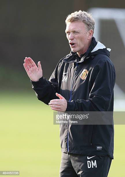 Manager David Moyes of Manchester United in action during a first team training session, ahead of their UEFA Champions League Group A match against...