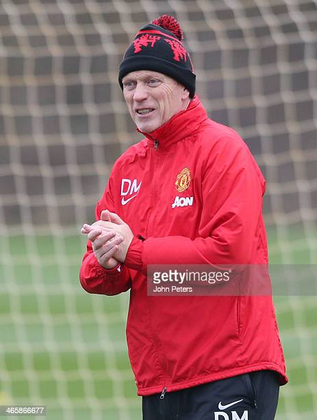 Manager David Moyes of Manchester United in action during a first team training session at Aon Training Complex on January 30 2014 in Manchester...