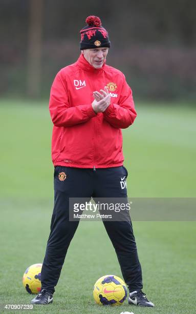 Manager David Moyes of Manchester United in action during a first team training session at Aon Training Complex on February 21, 2014 in Manchester,...
