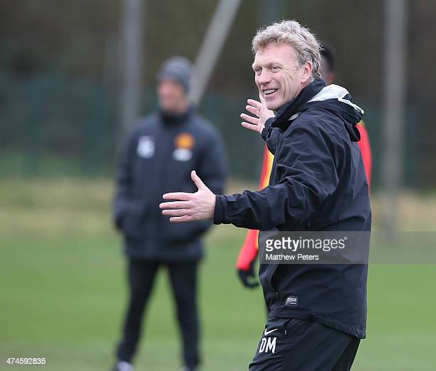 Manager David Moyes of Manchester United in action during a first team training session, ahead of their UEFA Champions League Round of 16 match...
