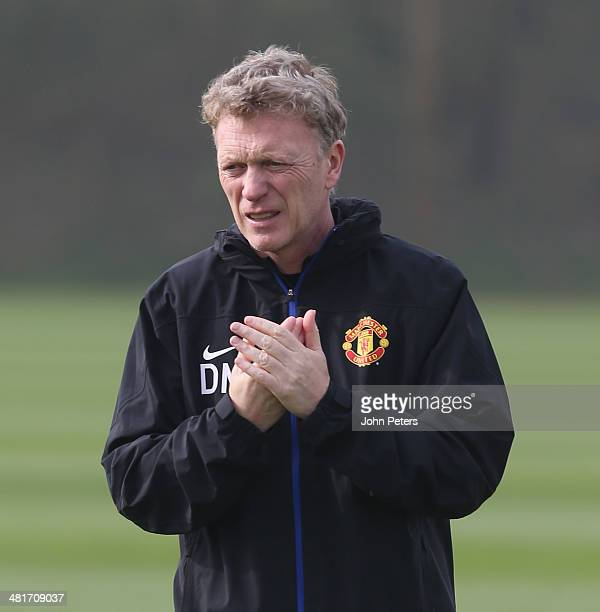 Manager David Moyes of Manchester United in action during a first team training session ahead of their UEFA Champions League quarterfinal match...