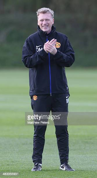 Manager David Moyes of Manchester United in action during a first team training session ahead of their UEFA Champions League quarterfinal second leg...